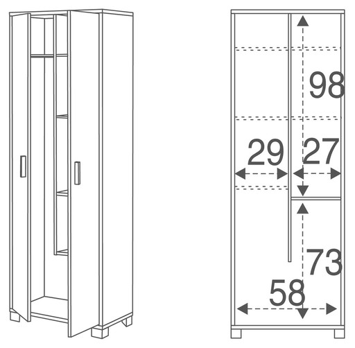 Wardrobe 2-door broom-rack unit - 768ps - Quadrante collection