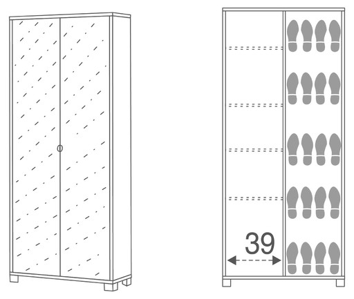Wardrobe shoe-rack 2-mirror doors - 748sp - Quadrante collection