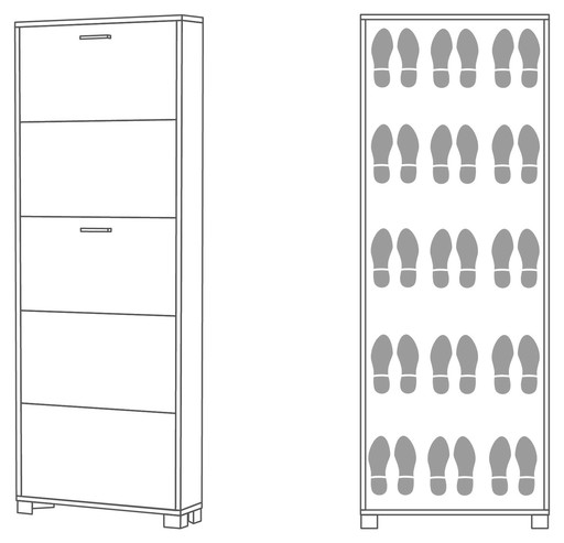 Shoe-rack 5 doors d18 - 755 - Quadrante collection