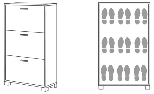 Shoe-rack 3 doors d29 - 763 - Quadrante collection